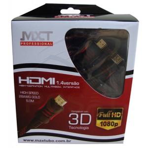 Cabo HDMI Nylon 1.4 High Speed 28 Awg Gold 5 m Vermelho